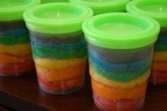 Rainbow Playdough Cups