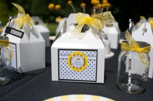 Inexpensive paper goods can be customized with free printables found online, or an inexpensive purchase of a coordinated set.