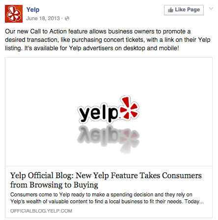 Yelp Call to Action