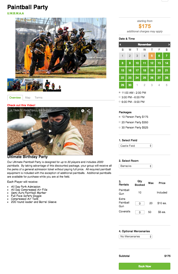 Online Reservation Software - Paintball